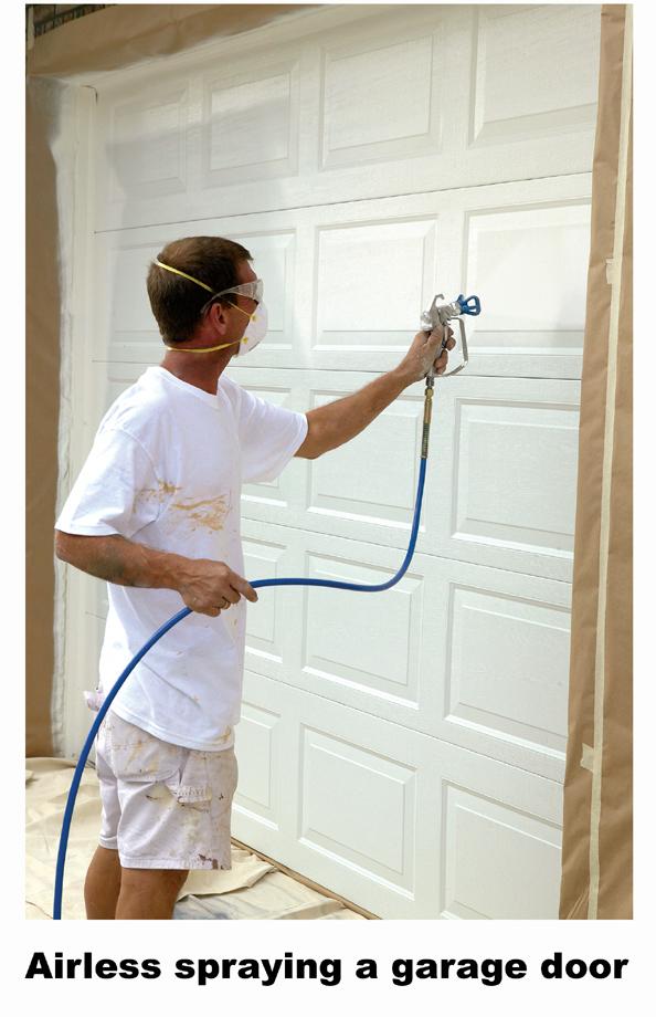Airless spraying garage door w caption